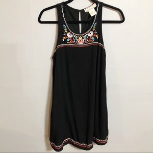 Flying Tomato Black Embroidered Tank Dress